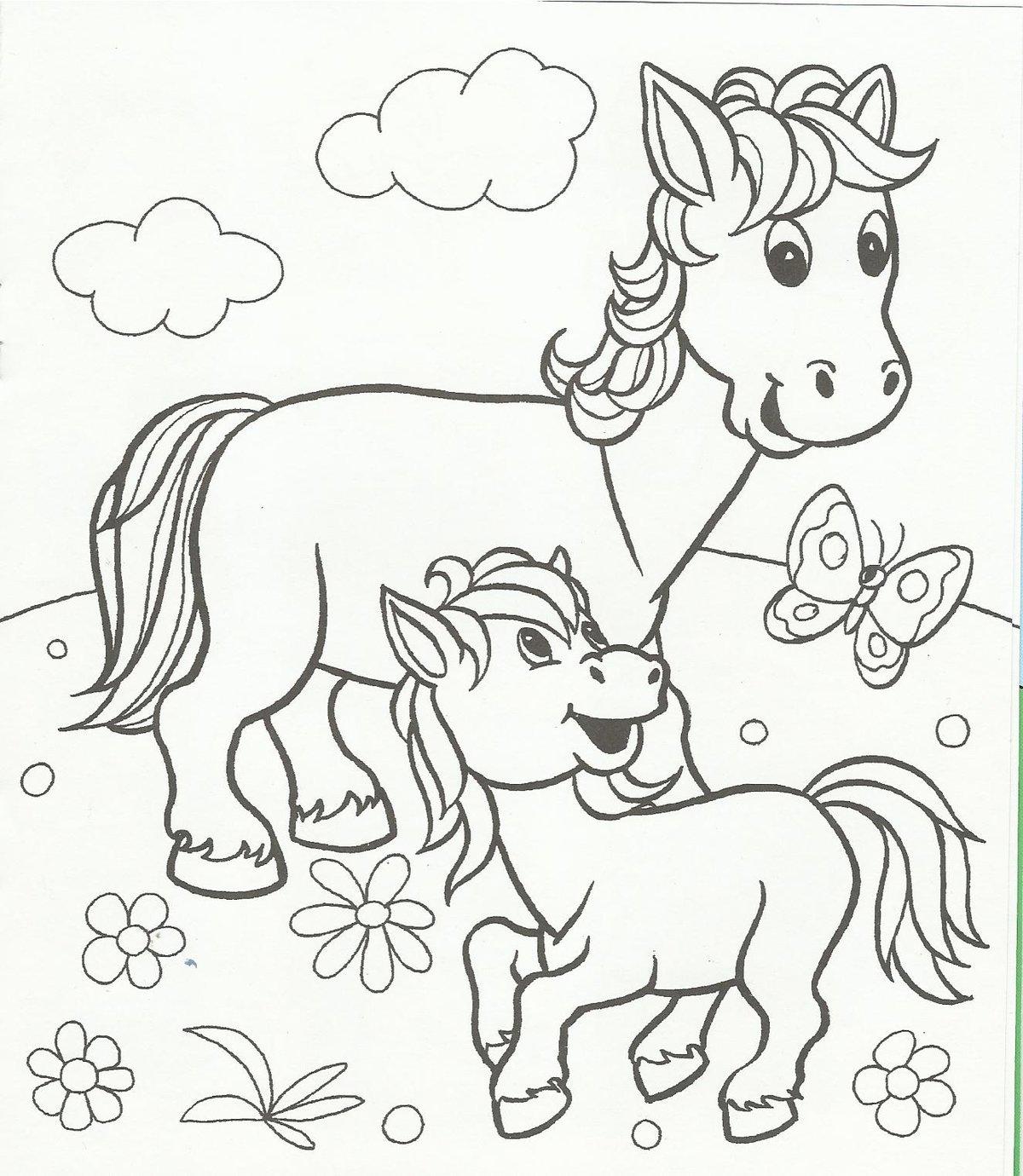 Картинки домашних животных с детенышами раскраски