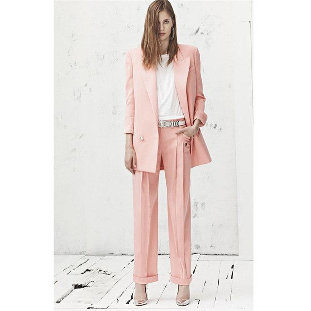 f4e1dad6be6 ... Купить товар Заказ розовый комплект из 2 предметов женщины деловой  костюм формальные офисные костюмы для работы