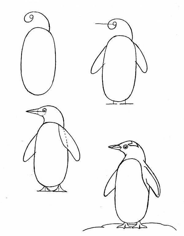 рисунок птицы поэтапно могут