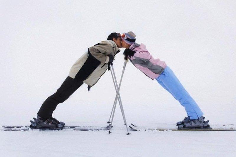 Смешные картинки двое на лыжах, видео