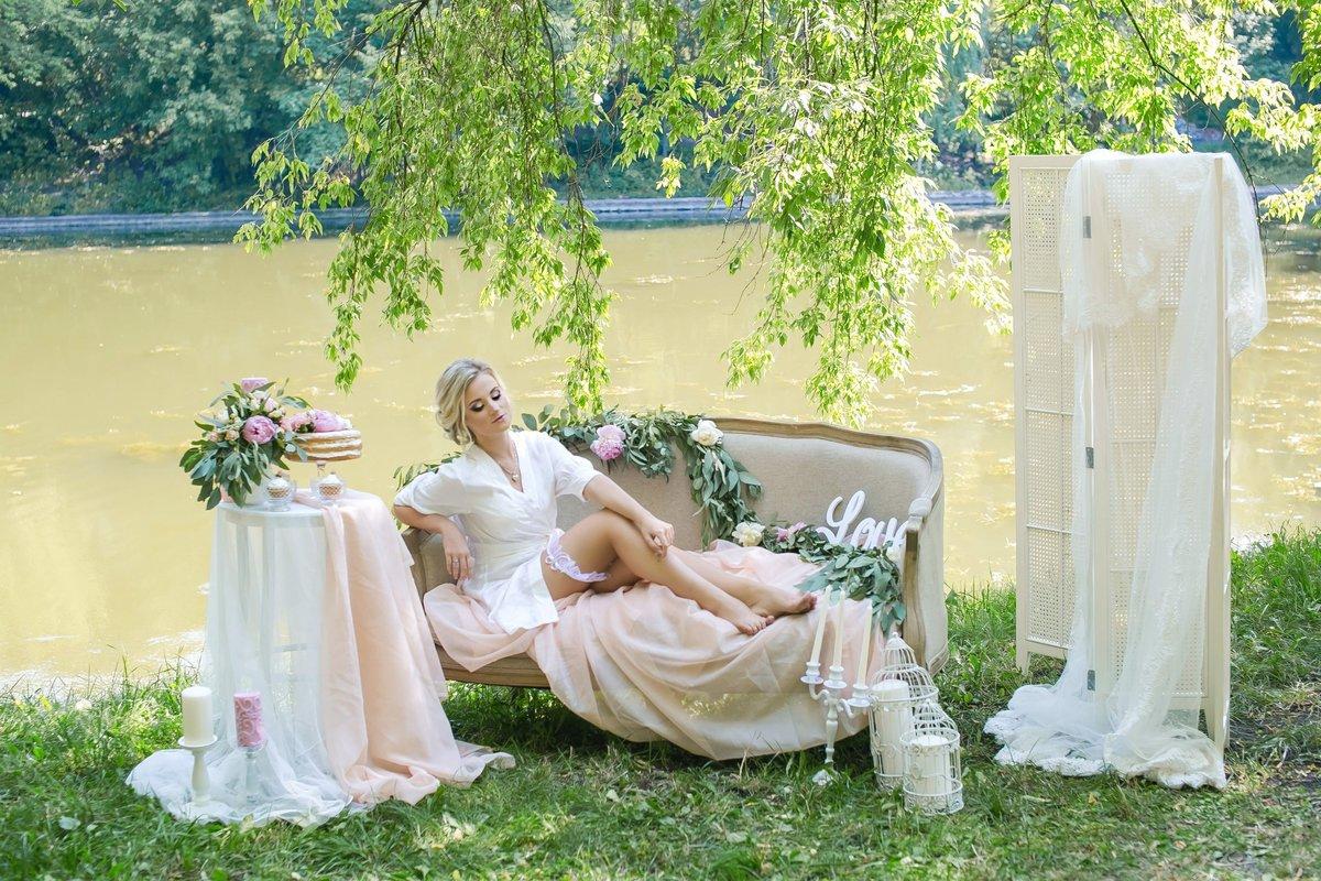 утро невесты фотосессия на природе военным
