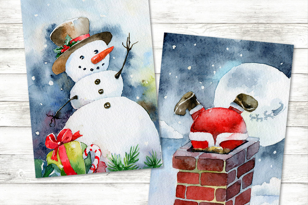 Рисуем открытки на новый год акварелью, днем