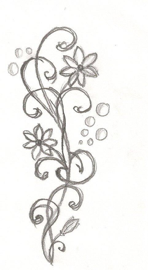 Спокойной ночи, рисунок карандашом для срисовки легкие и красивые цветы