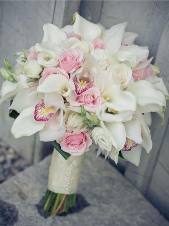 Магазин цветов, букет невесты из ярких орхидей и роз