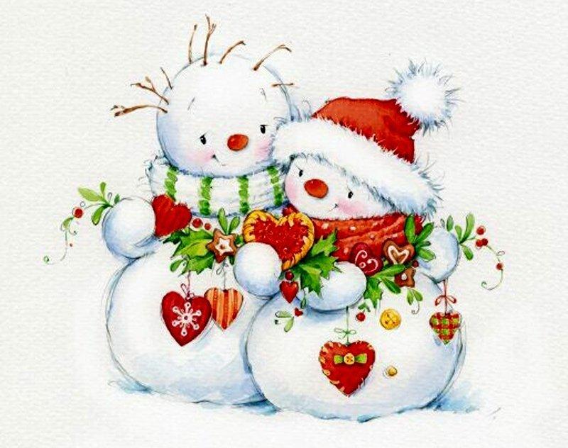 Рисунок, милые открытки к новому году