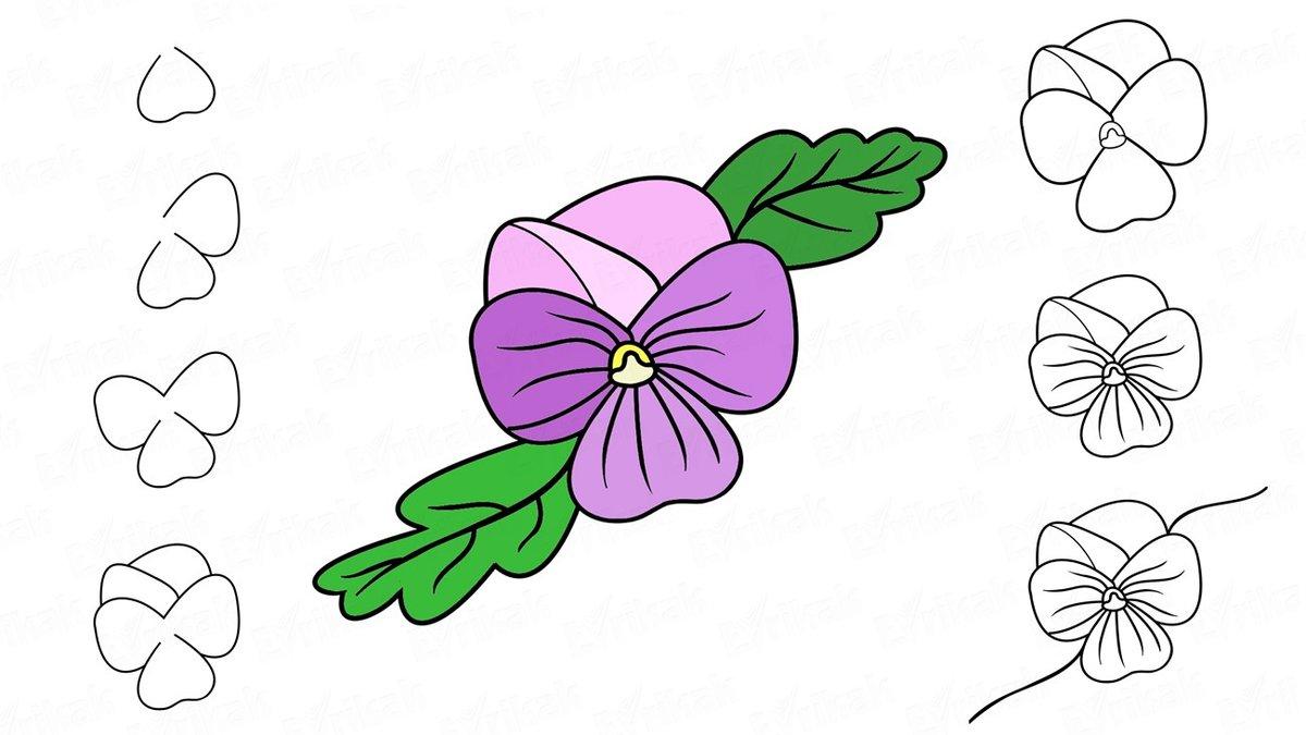 Картинки нарисовать цветы легко, легкого