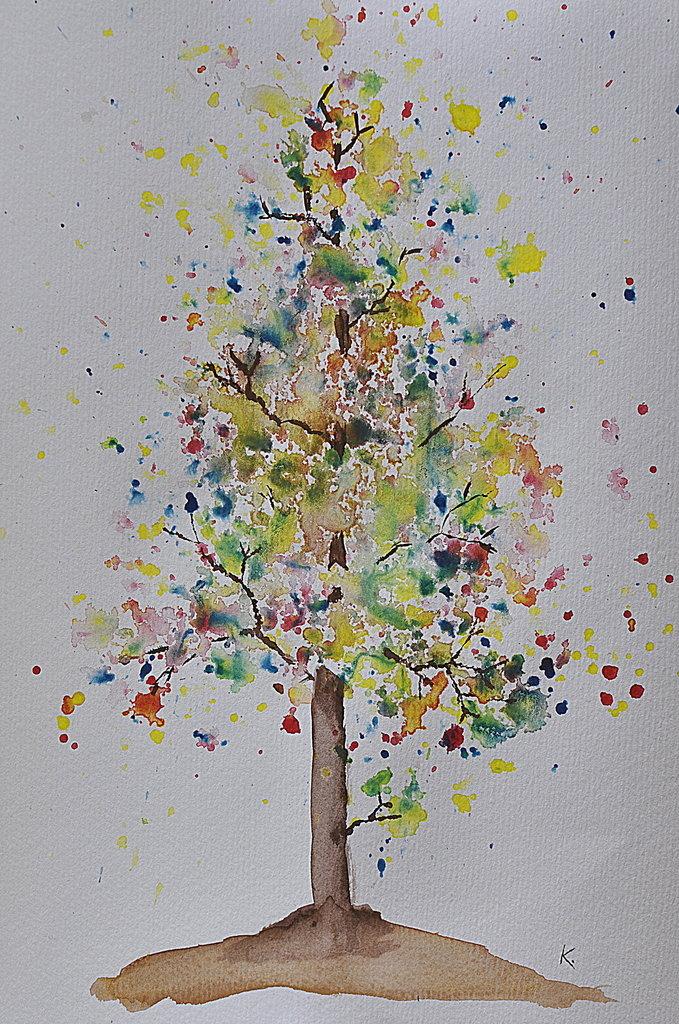 Рисунки деревьев для детей красками