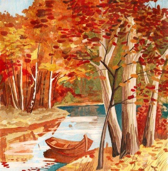 вот проблема рисунки осень для начинающих вверх