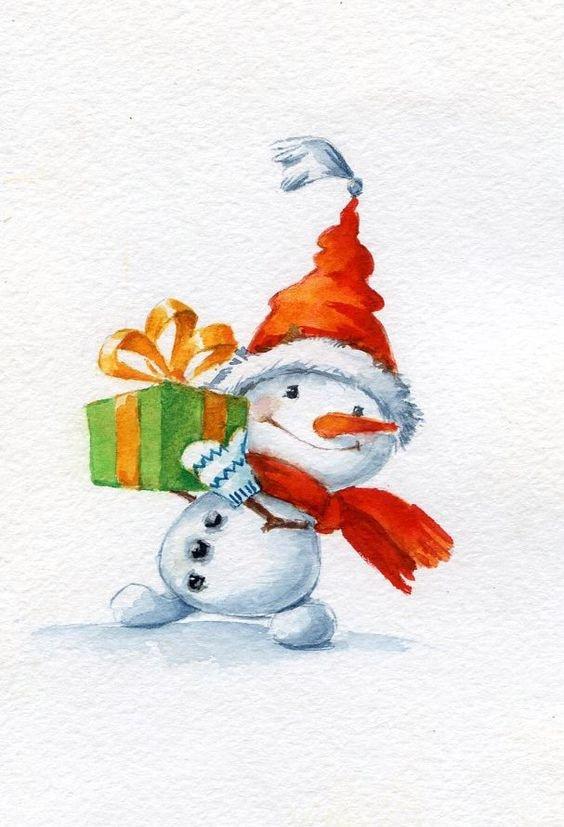 Снеговики новогодние картинки нарисованные