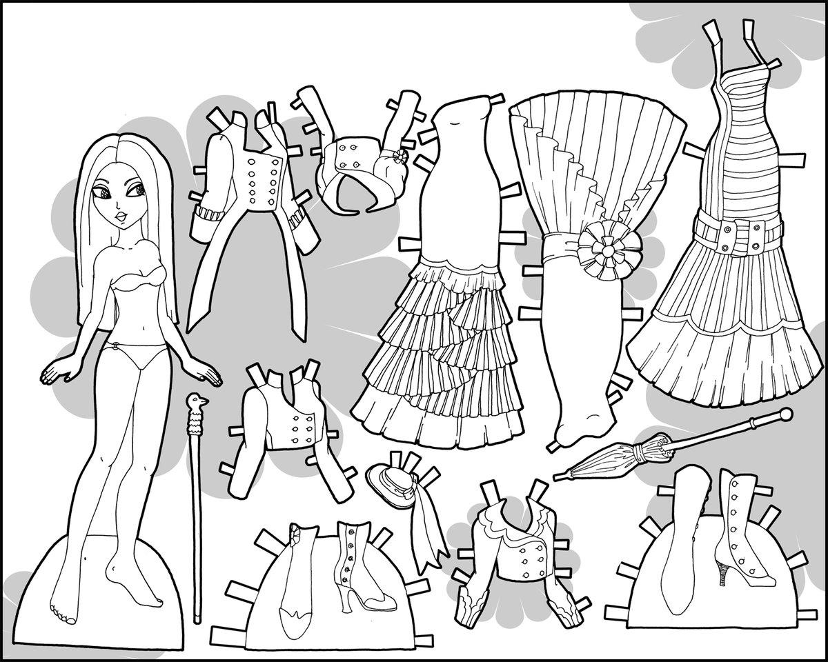 Бумажная кукла барби с одеждой для вырезания распечатать раскраска