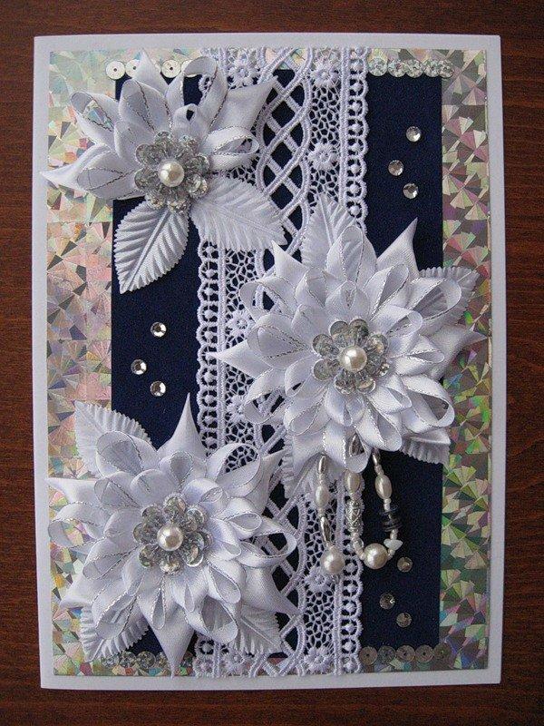 Открытка, цветы канзаши для открытки