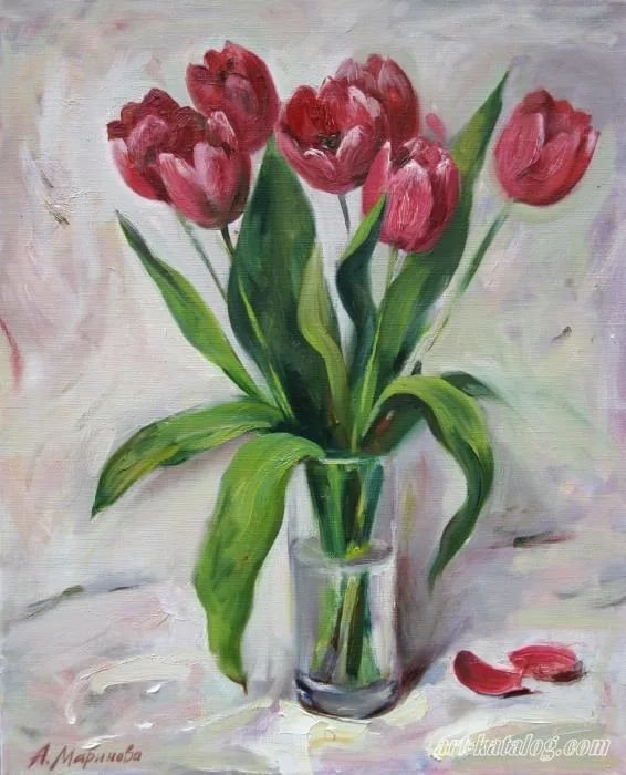 Тюльпаны в вазе картинки рисунок, гиф