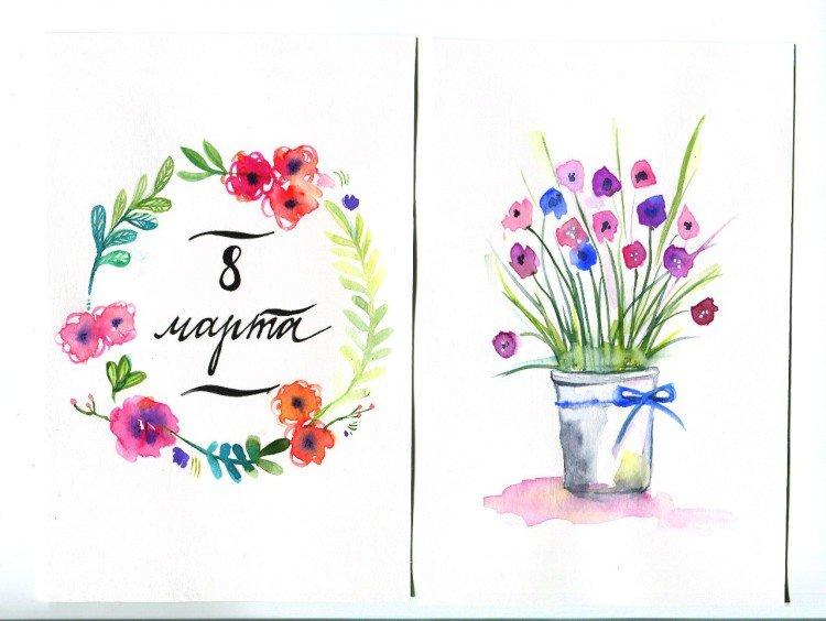 Жабой, акварельная открытка с 8 марта