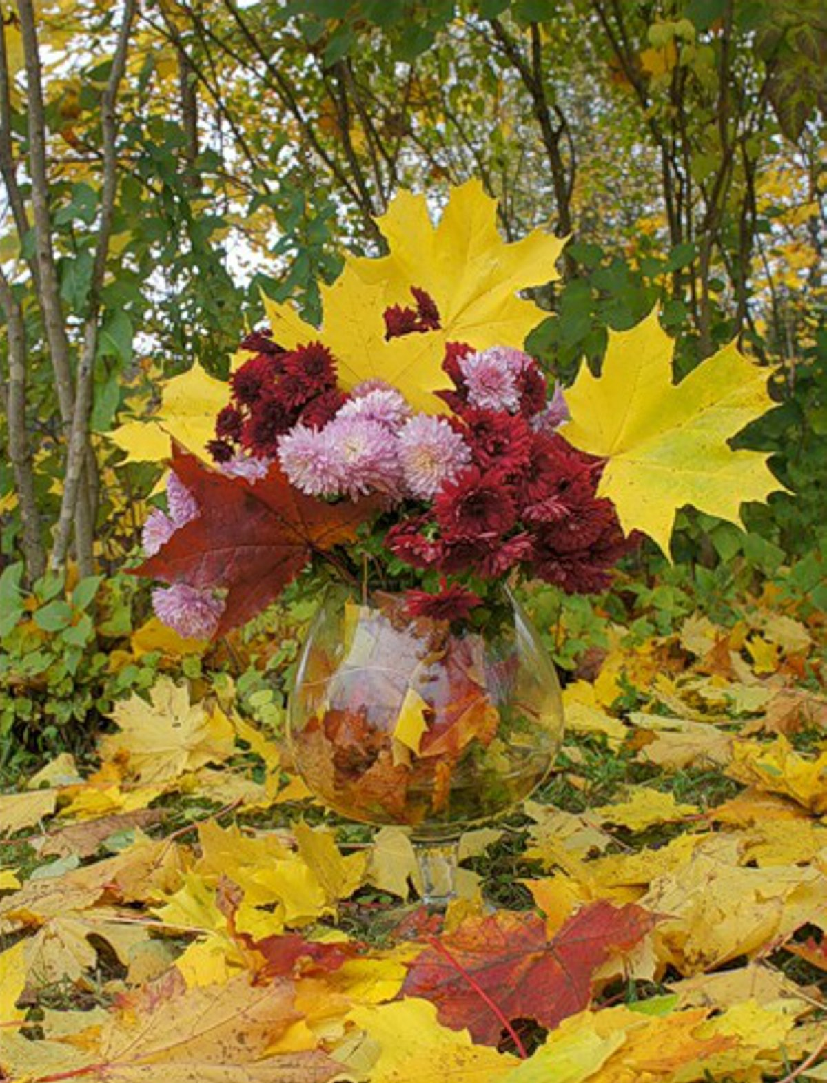 Открытки с осенним букетом из листьев, надписью тебя