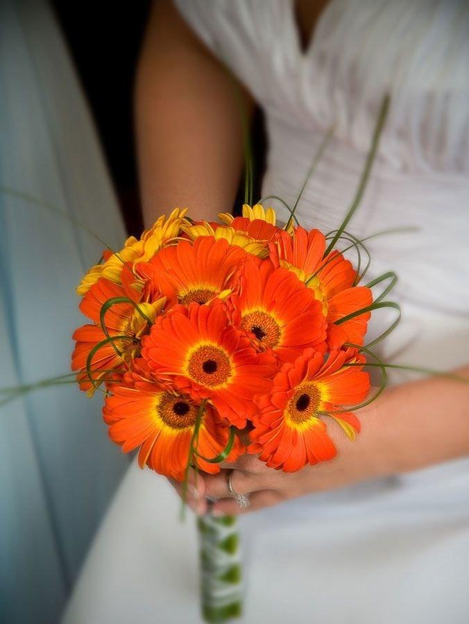 Свадебные букеты из оранжевых герберы, праздничных букетов букет