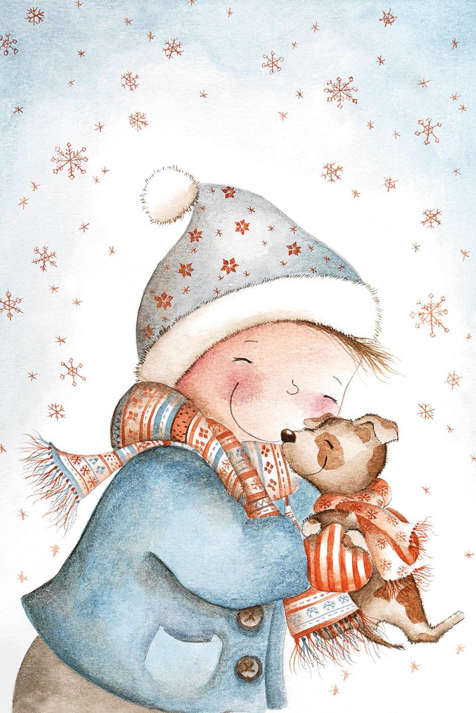 Картинки новогодние нарисованные милые, картинка мужиков картинки