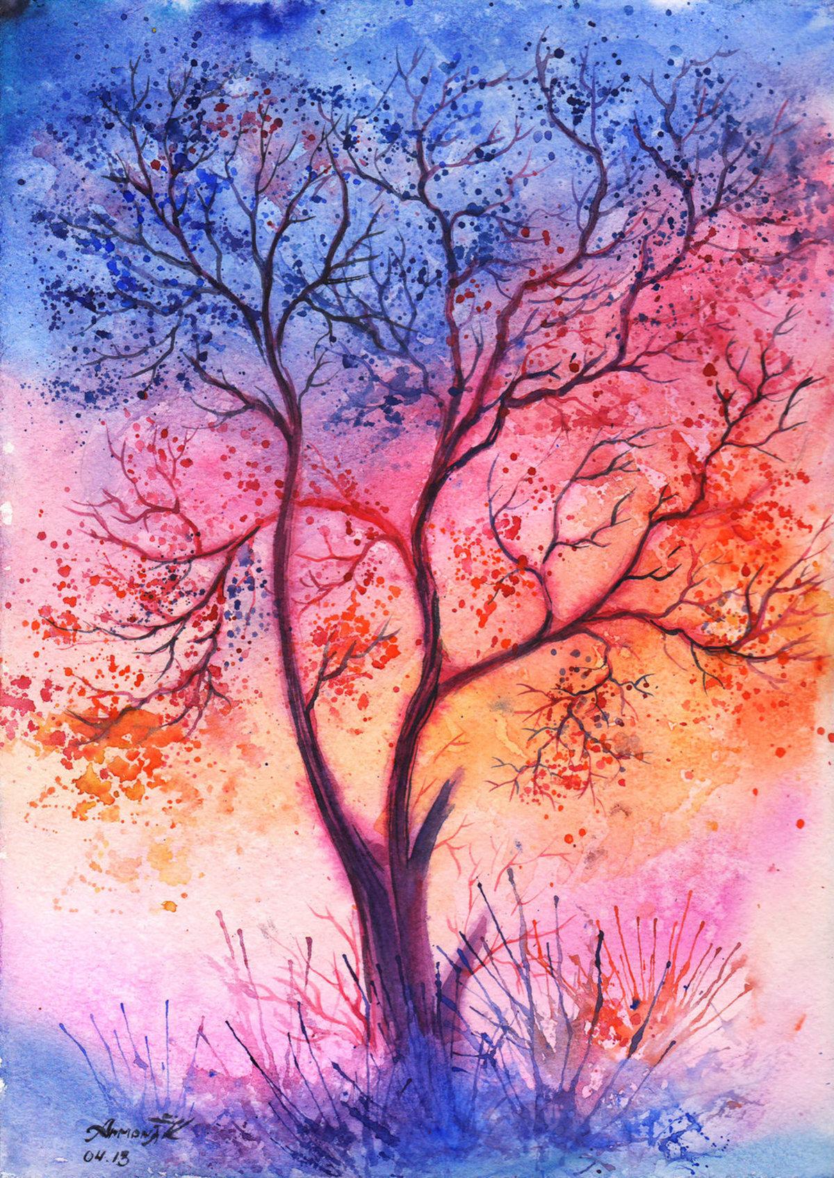 Красивые деревья рисунки гуашью