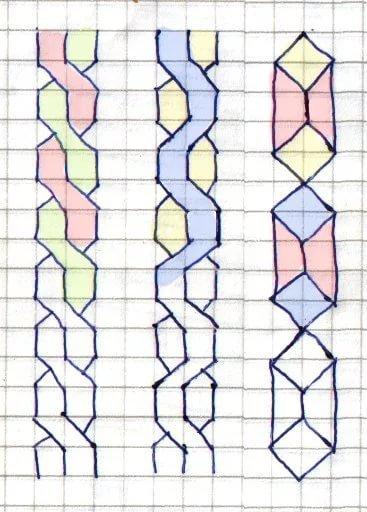 Рисунки косичек по клеткам