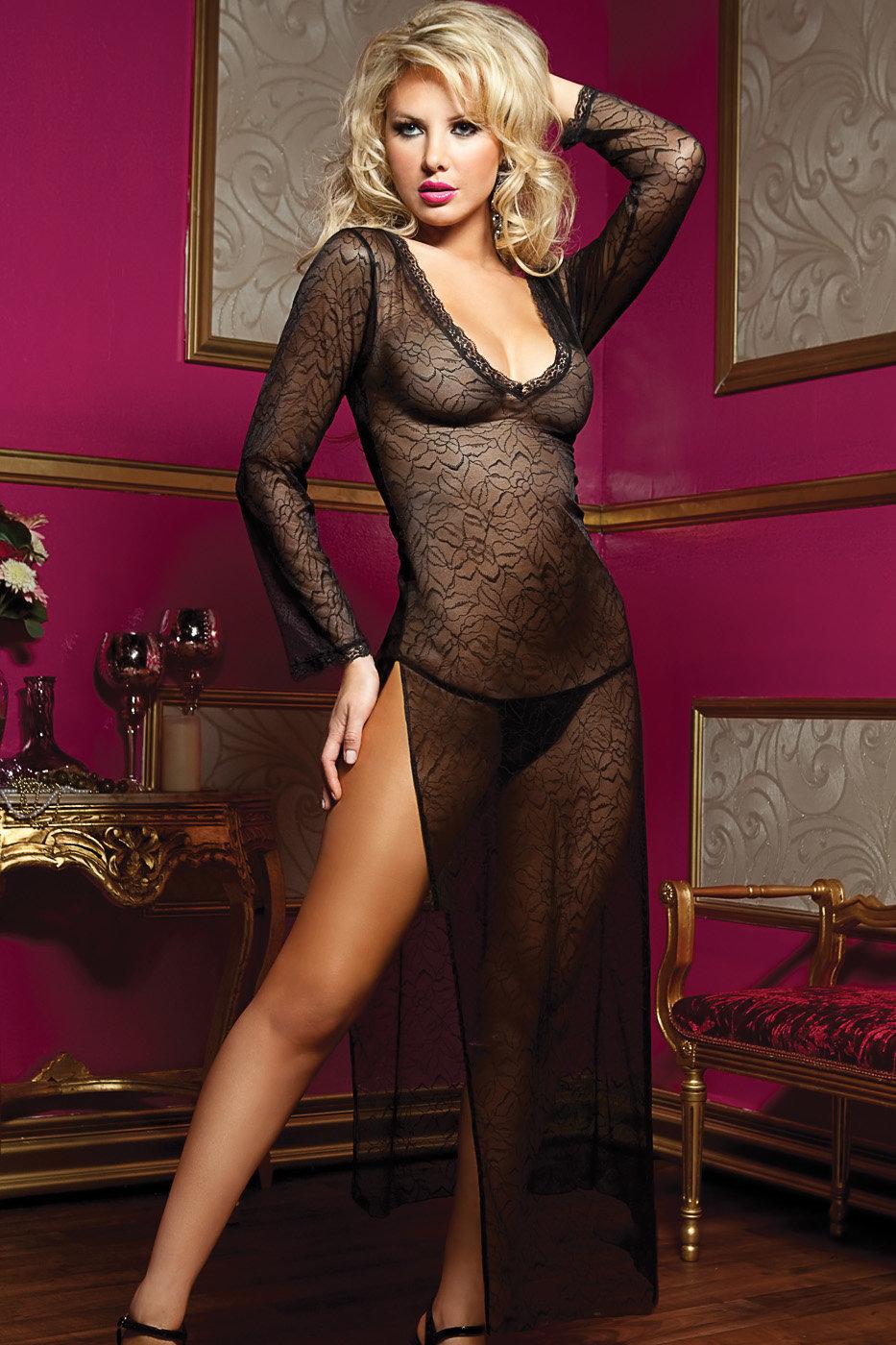 прозрачное вечернее платье на голом теле - 12