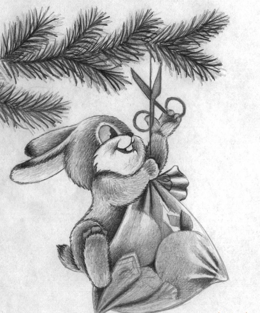 Открытка на новый год рисунки карандашом, днем