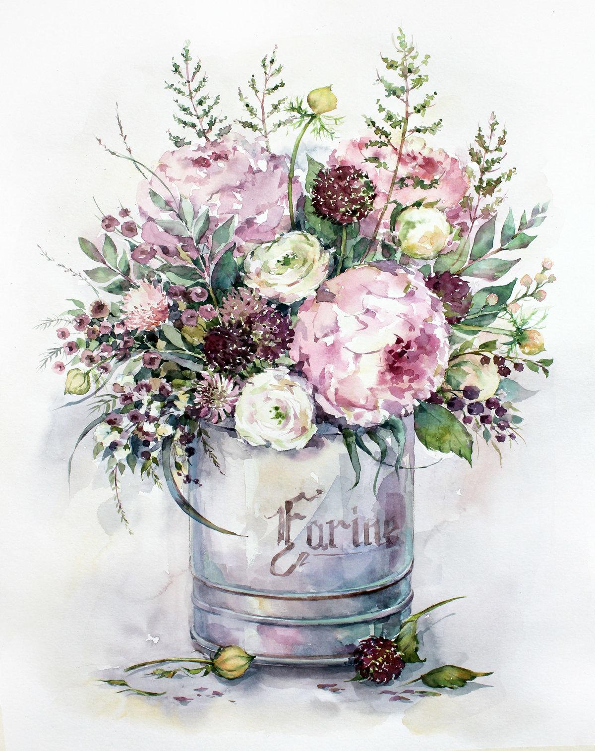 Акварель цветы для открыток, картинках