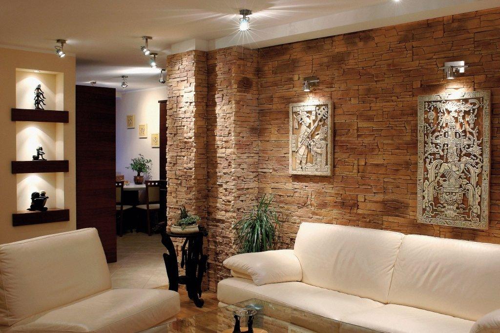 отделка стен декоративным камнем в квартире фото