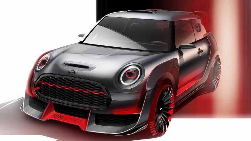 John Cooper Works GP Concept. Автомобиль построен в честь 50-летия победы британской марки на Ралли Монте-Карло.