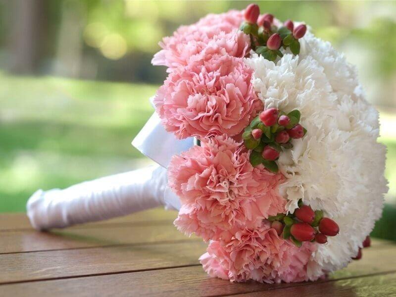 Цветы, букет невесты бидермейер