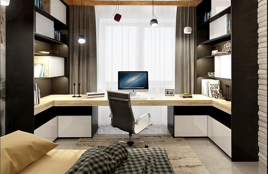 Современную спальня в стиле лофт с тщательно продуманной сис.