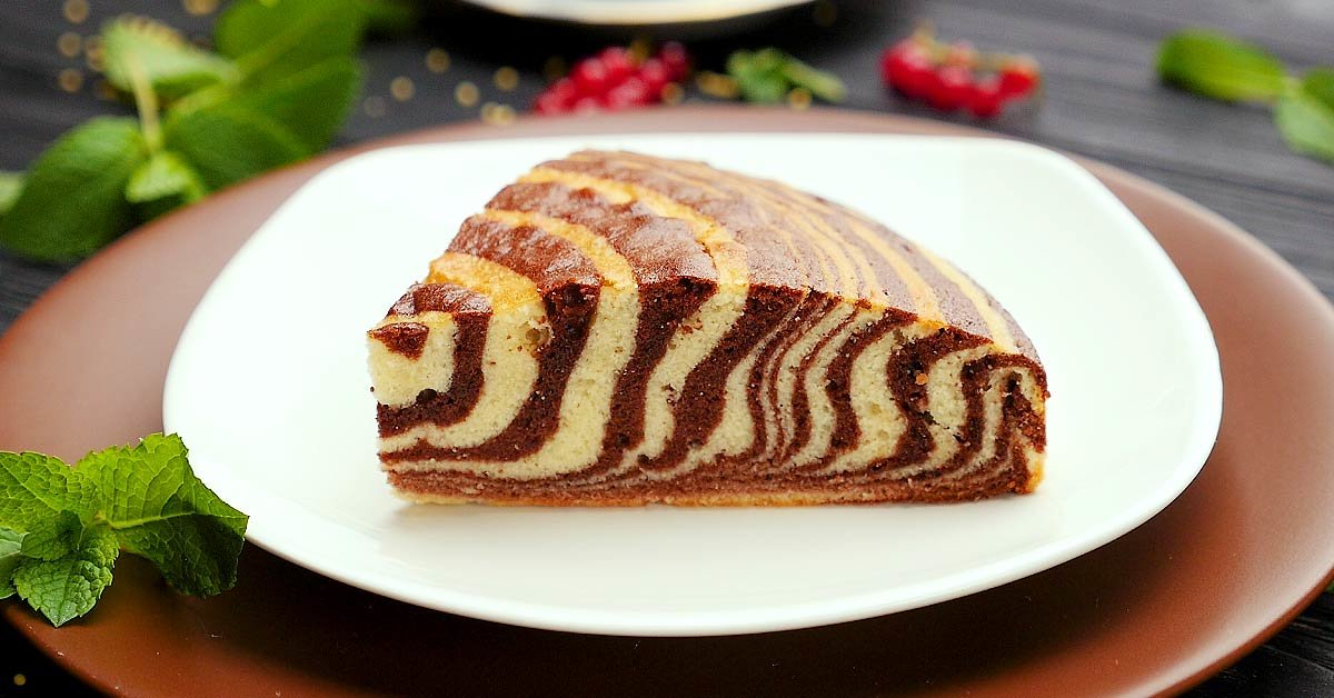 Пирог зебра без яиц