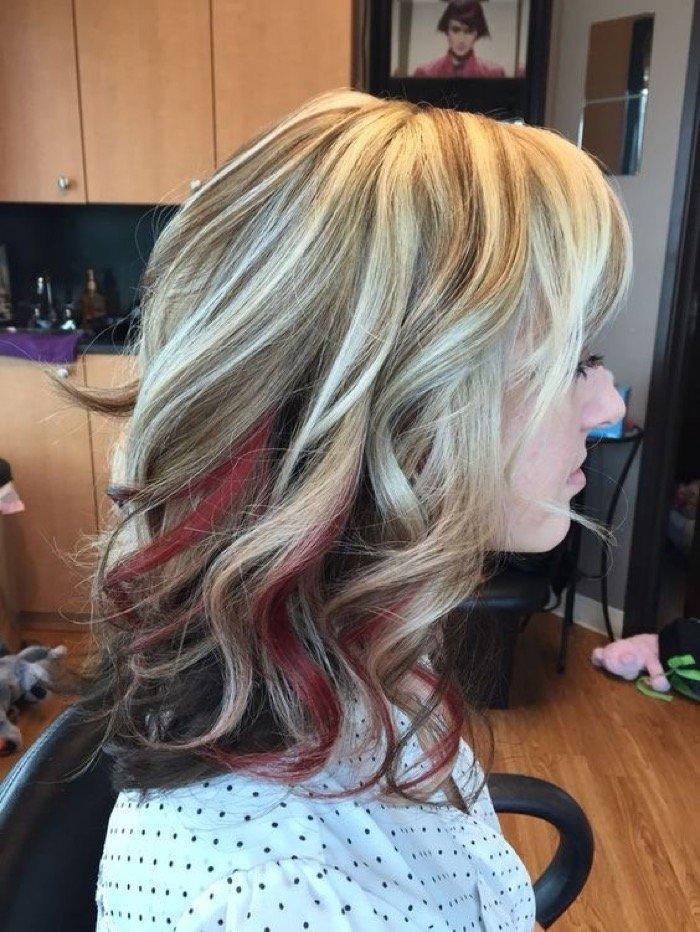 Цветное мелирование на русые волосы