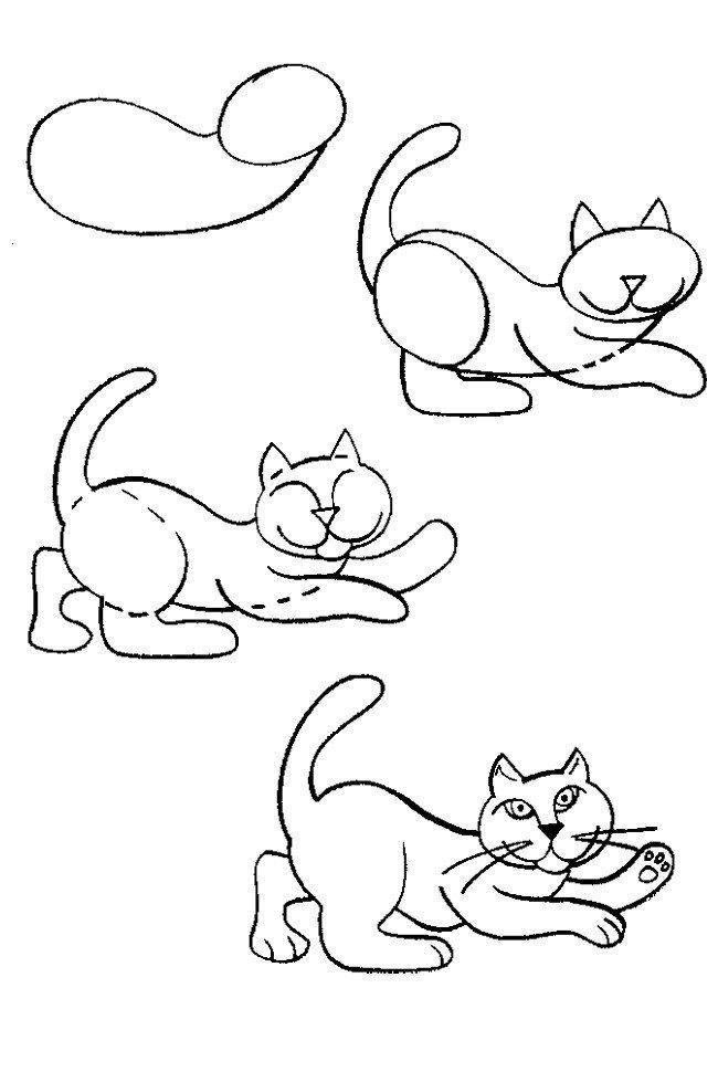 легкие картинки котиков срисования