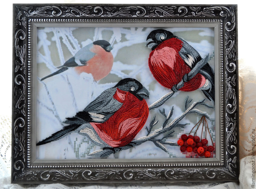 Квиллинг снегирь открытка