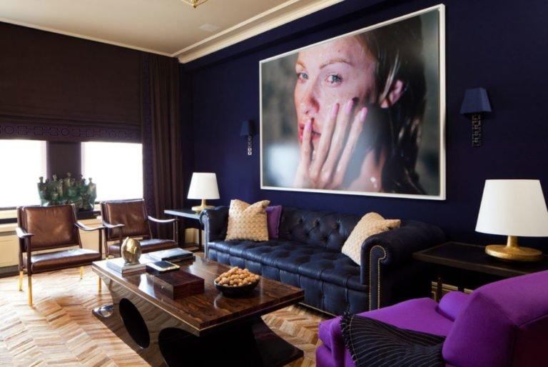 Синий цвет в интерьере гостиной, кухни, спальни