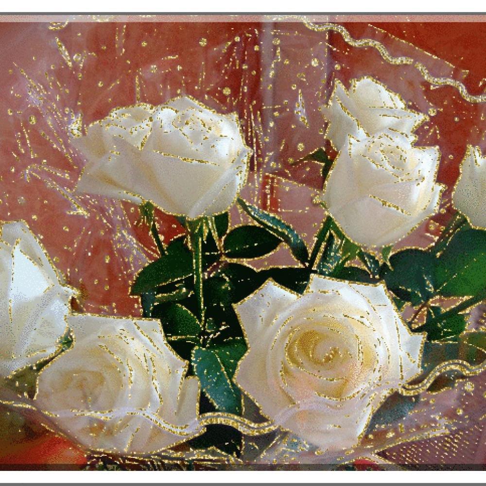 Днем рождения, открытка белые розы анимация