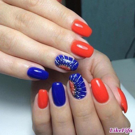 Ногти красным и синим картинки