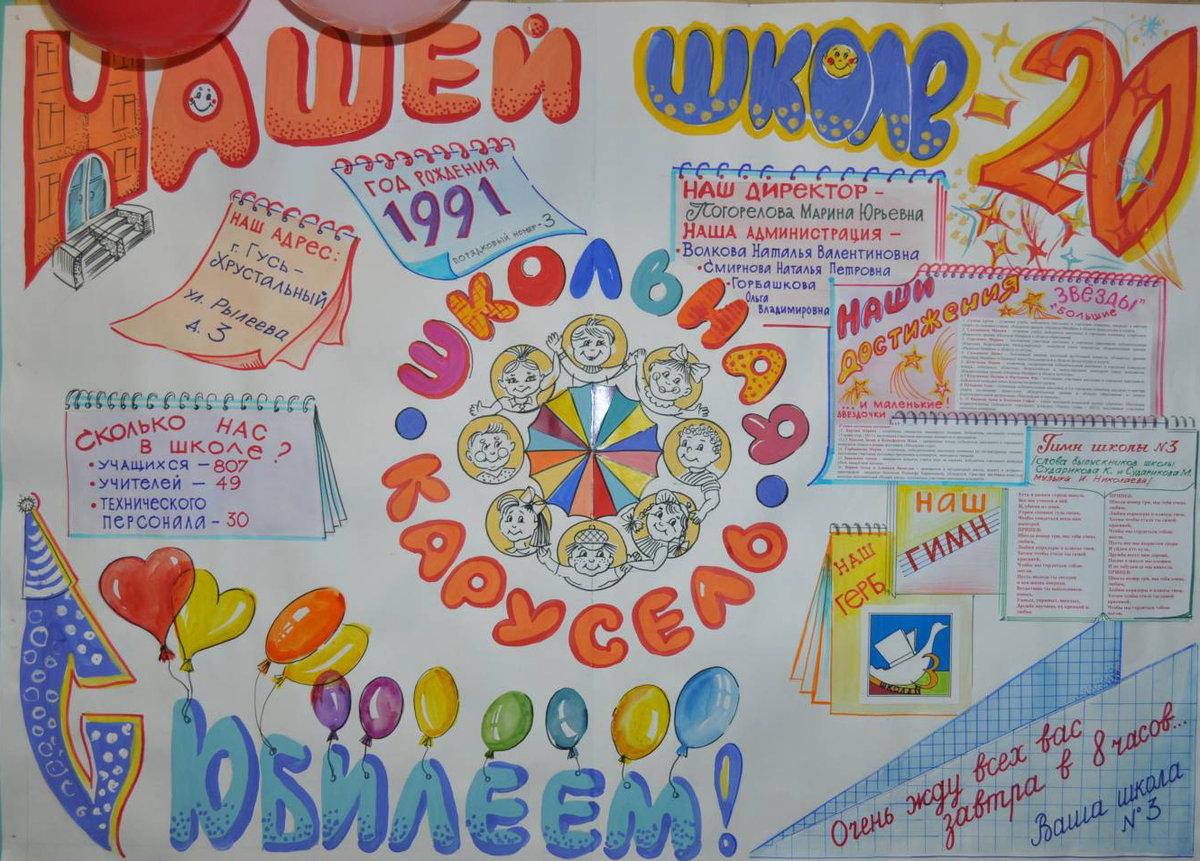 Плакат открытка на юбилей школы, своими