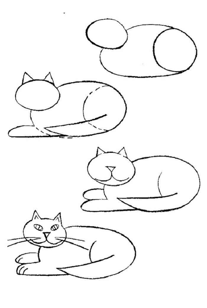 Картинки кошек карандашом для детей, днем рождения рыбе