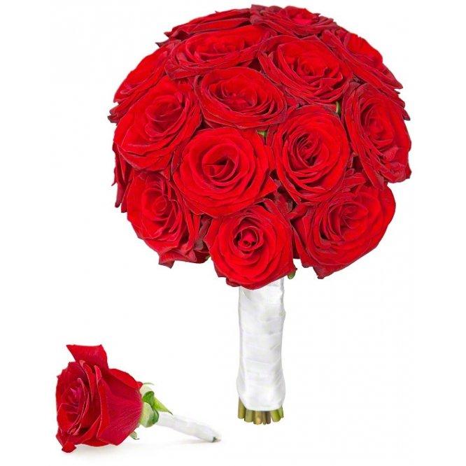 Круглый букет из красных роз значение