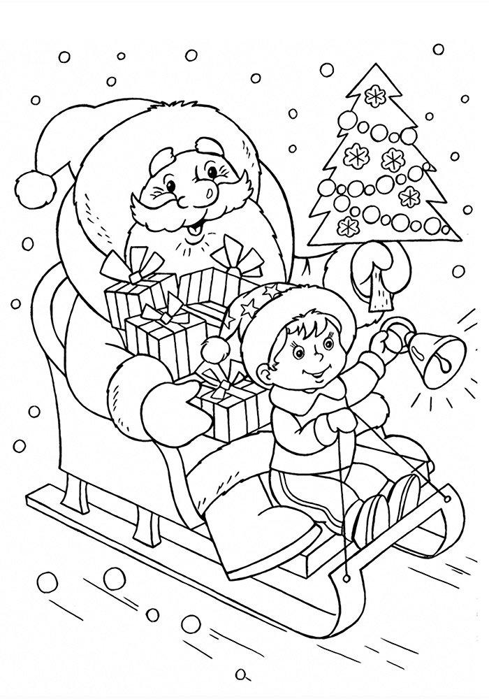 Новогодние картинки раскраска дед мороз елка и снегурочка, картинку фотографии