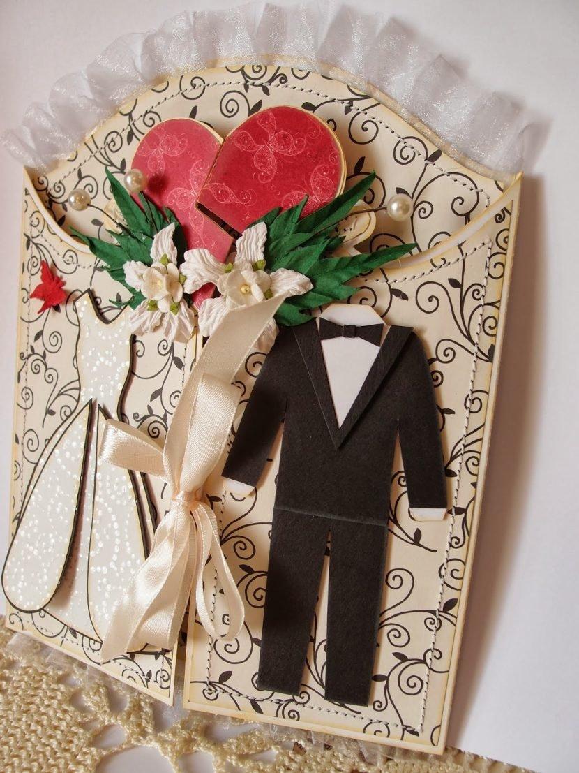 Свадебная открытка для молодоженов скрапбукинг