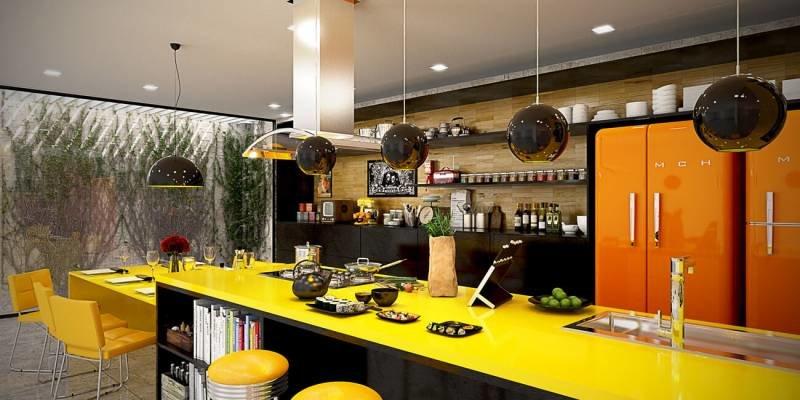 Кухня с желтыми акцентами