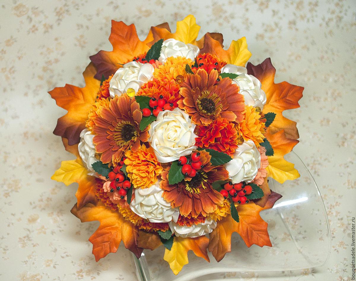 Цветы, оригинальные букеты из осенних листьев картинки