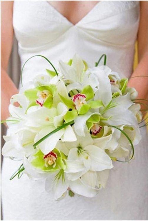 Цветов, букет невесты белый зеленый орхидея как делать