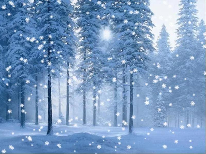 Новогодние открытки с анимацией падающего снега