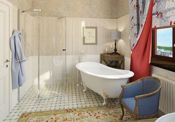 Душевая кабина в ванной стиля прованс.