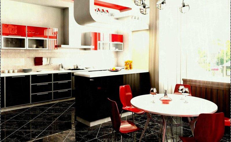 интерьер мраморной кухни