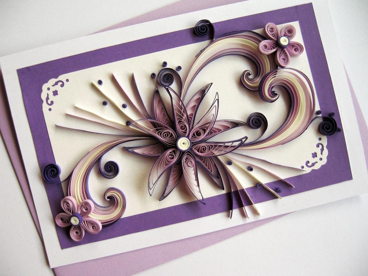 Праздничные открытки из квиллинга, открытки днем