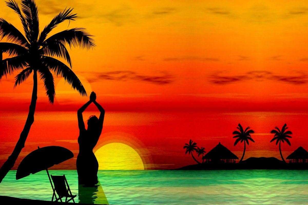 решил картинки о солнце пляже и пальмах можно делать через