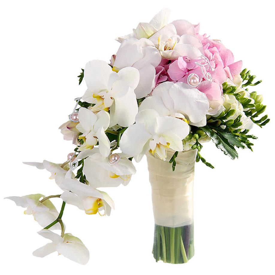 Свадебном букете, заказать свадебный букет из орхидей и фрезий